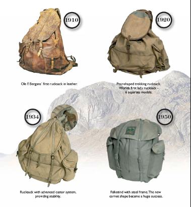 Evoltion du sac a dos entre 1910 et 1950